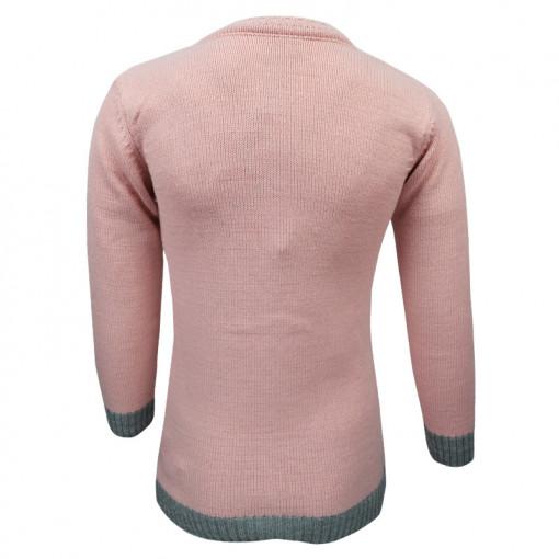 """Μπλούζα ροζ μακρυμάνικη πλεκτή """"Κουκουβάγια"""" πίσω μέρος"""