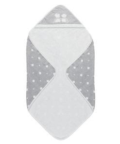 Μπουρνουζοπετσέτα μπάνιου γκρι με σχεδιάκια