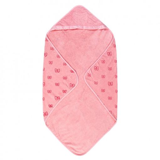 Μπουρνουζοπετσέτα μπάνιου ροζ με σχεδιάκια