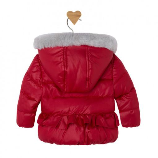 Μπουφάν κόκκινο με μαλλί στην κουκούλα πίσω μέρος