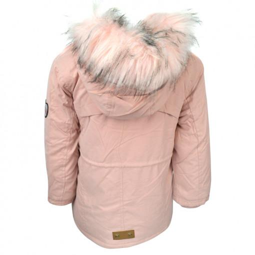 """Μπουφάν με ροζ γούνα στην κουκούλα και τσέπες """"OMG!"""" πίσω μέρος"""