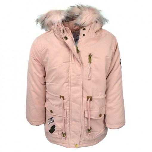 """Μπουφάν με ροζ γούνα στην κουκούλα και τσέπες """"OMG!"""""""