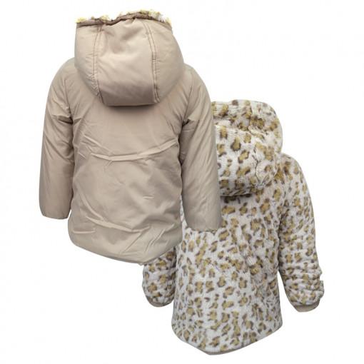 Μπουφάν μπεζ διπλής όψης με κουκούλα και φερμουάρ πίσω μέρος
