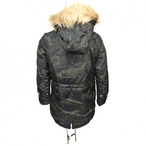 """Μπουφάν παραλλαγής με γούνα στην κουκούλα και τσέπες """"Ebita"""" πίσω μέρος"""