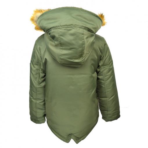 """Μπουφάν πράσινο με τσέπες και γούνα στην κουκούλα """"Joyce"""" πίσω μέρος"""