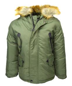 """Μπουφάν πράσινο με τσέπες και γούνα στην κουκούλα """"Joyce"""""""