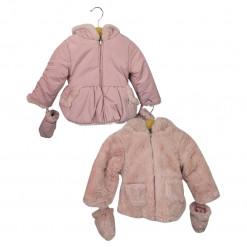 Μπουφάν ροζ διπλής όψεως με γάντια