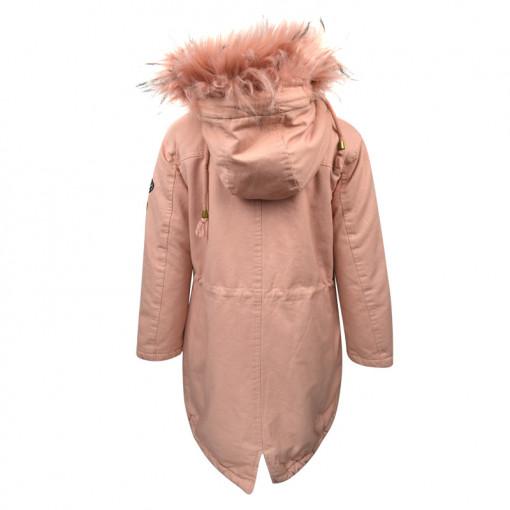 """Μπουφάν ροζ με γούνα στην κουκούλα και τσέπες """"EBTμοδα"""" πίσω μέρος"""