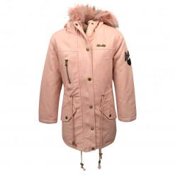 """Μπουφάν ροζ με γούνα στην κουκούλα και τσέπες """"EBTμοδα"""""""