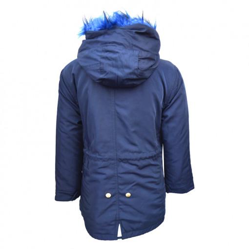 """Μπουφάν σκούρο μπλε με γούνα στην κουκούλα και τσέπες """"Yes"""" πίσω μέρος"""