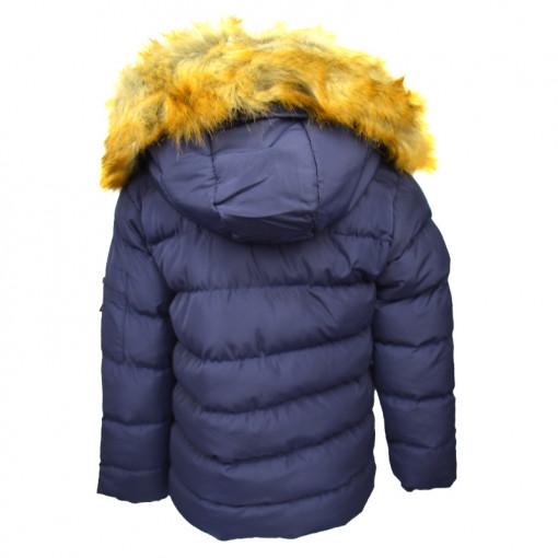 """Μπουφάν σκούρο μπλε με γούνα στην κουκούλα """"Joyce IND"""" πίσω μέρος"""