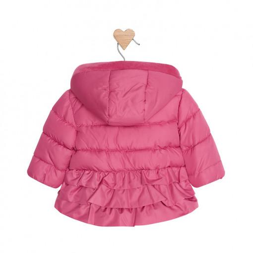 Μπουφάν φουσκωτό ροζ με κουκούλα και κούμπια πίσω μέρος