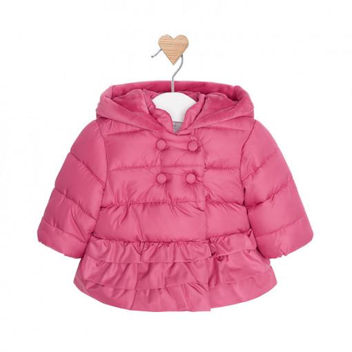 Μπουφάν φουσκωτό ροζ με κουκούλα και κούμπια