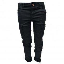 Παντελόνι μαύρο μακρύ με κουμπί και τσέπες