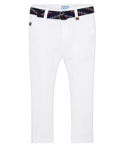 Παντελόνι πικέ λευκό λοξότσεπο με ζώνη