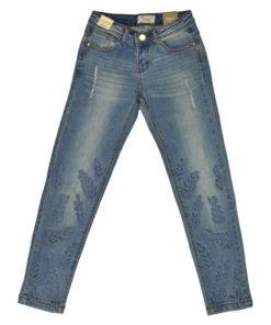Παντελόνι τζιν με διάτρητα κεντήματα