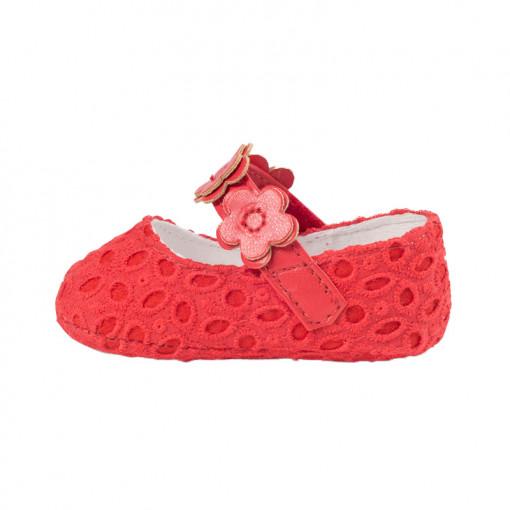 """Παπούτσια αγκαλιάς μπαρέτες κόκκινες """"Λουλούδια"""" πίσω μέρος"""