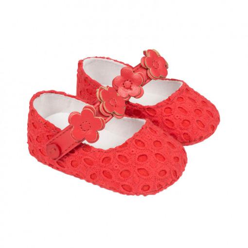 """Παπούτσια αγκαλιάς μπαρέτες κόκκινες """"Λουλούδια"""""""