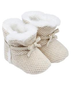 Παπούτσια αγκαλιάς μποτάκια μπεζ με φιόγκο