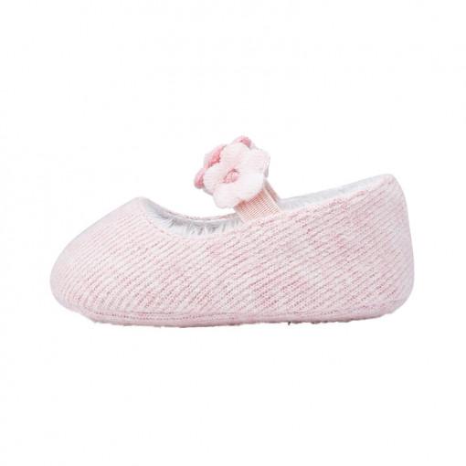 """Παπούτσια αγκαλιάς ροζ """"Λουλουδάκια"""" πλάγια"""