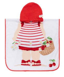 """Πετσέτα παραλίας κόκκινη με κουκούλα """"Κροκόδειλος και Κορίτσι"""""""