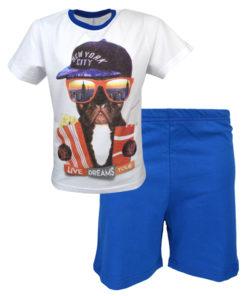 """Πιτζάμα με άσπρη κοντομάνικη μπλούζα και μπλε σορτάκι """"Live your dreams"""""""
