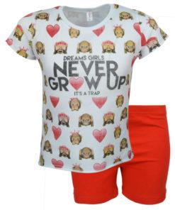 """Πιτζάμα με άσπρη κοντομάνικη μπλούζα και σορτάκι """"Never Grow Up"""""""