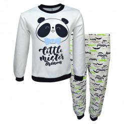 """Πιτζάμα με άσπρη μακρυμάνικη μπλούζα και παντελόνι """"Panda"""""""