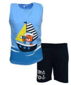 """Πιτζάμα με αμάνικη μπλούζα γαλάζια και σοτσάκι μαύρο """"Seven Seas"""""""