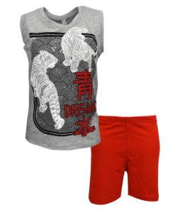"""Πιτζάμα με αμάνικη μπλούζα γκρι και σορτσάκι κόκκινο """"Tigers"""""""