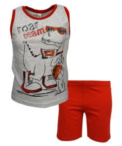 """Πιτζάμα με αμάνικη μπλούζα γκρι και σοτσάκι κόκκινο """"Roar Team"""""""