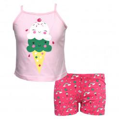"""Πιτζάμα με αμάνικη μπλούζα ροζ και σοτσάκι φούξια """"Ice Cream"""""""
