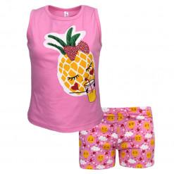 """Πιτζάμα με αμάνικη μπλούζα φούξια και σορτσάκι ροζ """"Ανανάς"""""""