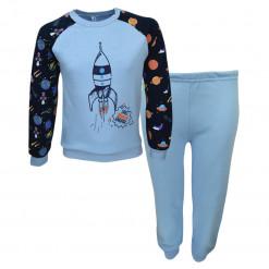 """Πιτζάμα με γαλάζια μακρυμάνικη μπλούζα και γαλάζιο παντελόνι """"Διαστημόπλοιο"""""""