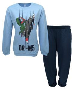 """Πιτζάμα με γαλάζια μακρυμάνικη μπλούζα και σκούρο μπλε παντελόνι """"Δεινόσαυρος"""""""