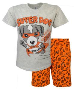 """Πιτζάμα με γκρι κοντομάνικη μπλούζα και πορτοκαλί σορτσάκι """"Super Dog"""""""
