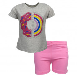 """Πιτζάμα με γκρι κοντομάνικη μπλούζα και ροζ σορτσάκι """"Be Bright"""""""