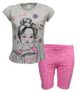 """Πιτζάμα με γκρι κοντομάνικη μπλούζα και ροζ σορτσάκι """"Maths"""""""