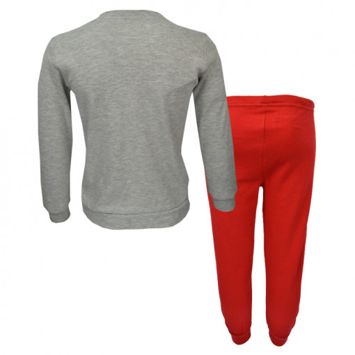 """Πιτζάμα με γκρι μακρυμάνικη μπλούζα και κόκκινο παντελόνι """"Snow"""" πίσω μέρος"""