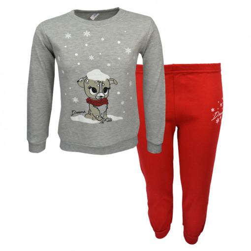 """Πιτζάμα με γκρι μακρυμάνικη μπλούζα και κόκκινο παντελόνι """"Snow"""""""