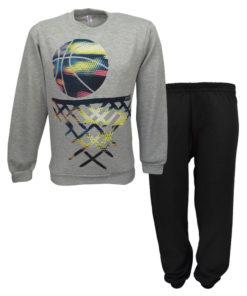 """Πιτζάμα με γκρι μακρυμάνικη μπλούζα και μαύρο παντελόνι """"Basket"""""""
