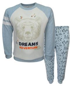 """Πιτζάμα με εκρού μακρυμάνικη μπλούζα και γαλάζια παντελόνι """"Αρκούδα"""""""
