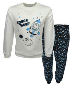 """Πιτζάμα με εκρού μακρυμάνικη μπλούζα και σκούρο μπλε παντελόνι """"Space Bear"""""""
