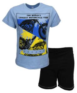 """Πιτζάμα με κοντομάνικη μπλούζα γαλάζια και σορτσάκι μαύρο """"Motorcycle"""""""