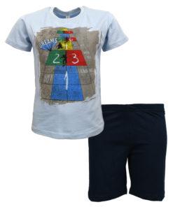 """Πιτζάμα με κοντομάνικη μπλούζα γαλάζια και σορτσάκι μπλε """"1 2 3"""""""