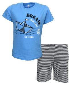 """Πιτζάμα με κοντομάνικη μπλούζα γαλάζια και σορτσάκι μπλε """"Sale Away"""""""