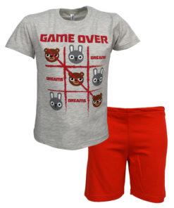 """Πιτζάμα με κοντομάνικη μπλούζα γκρι και σορτσάκι κόκκινο """"Game Over"""""""