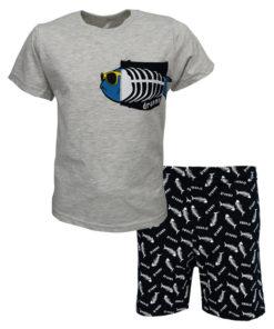 """Πιτζάμα με κοντομάνικη μπλούζα γκρι και σορτσάκι μαύρο """"Fishbone"""""""
