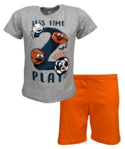 """Πιτζάμα με κοντομάνικη μπλούζα γκρι και σορτσάκι πορτοκαλί """"It's Time to Play"""""""