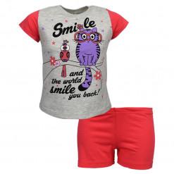 """Πιτζάμα με κοντομάνικη μπλούζα γκρι και σοτσάκι κοραλλί """"Smile"""""""